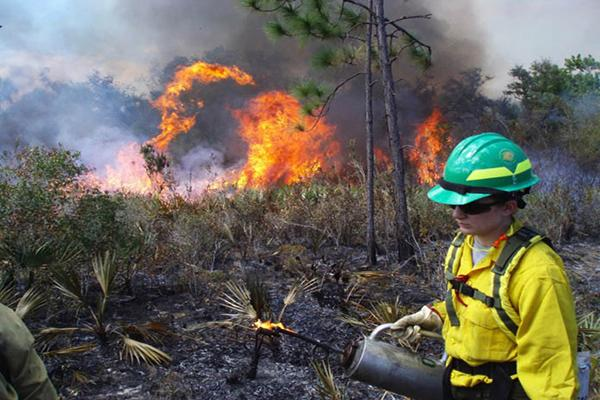 Nicole DeYoung, an outdoor recreation major who graduated in 2009, participated in the 2007 spring break trip to perform prescribed burns in Florida. (Photo: Courtesy of Jeff Noble)
