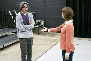 """Junior theatre majors John Scheibe and Jesse Morrow play Hornby and  Deborah, as they rehearse a scene from """"A Kind of Alaska."""" (Katie Stumman NW)"""