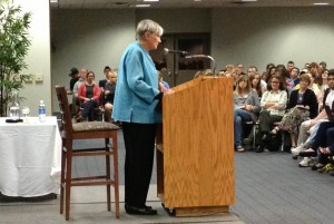 Ravitch spoke to a full house and received a standing ovation for her message which has resonated with teachers and students across the country. (Courtesy of Jonas Greenberg)