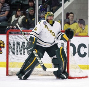 Jared Coreau, 22, played three years with the Northern Michigan University Wildcats, starting his collegiate career in 2010. In 2011, he was moved up to lead goaltender for the remainder of his NMU career.  Coreau was named CCHA Warrior of the Week twice in his final season with Northern. (NW File Photo)
