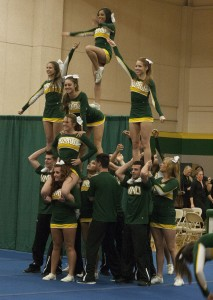 The NMU cheerleading team performs a stunt  during the athlete talent show on Sunday, Nov. 3.  (Anthony Viola/NW)