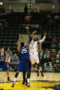 Sophomore guard Terry Nash (3) had four assists and four points for NMU in the 61-59 victory over head coach Bill Sall's former team, Ferris State. (Anthony Viola NW)