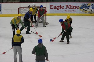 Students participate in one of the first intramural games of the year, broomball. All residence halls compete against each other during the winter semester. (Anthony Viola/NW)