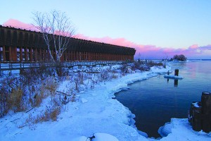 """Lower Harbor's ore dock's waterways lay frozen over after temperatures between -20 and -40 degrees Fahrenheit with windchill hit Marquette County. The subzero temperatures caused two """"cold days"""" at NMU. (Kelly McCommons /NW)"""