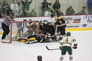 (Anthony Viola/NW) The men's hockey team lost a series to Michigan Tech in a 7-4 defeat Friday, Feb. 21 and a 3-2 defeat Saturday, Feb. 22. NMU hosts Bowling Green in an opening series game Friday, Feb. 28.