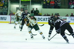 (Anthony Viola/NW) Senior forward Erik Higby (26) scored the Wildcat's only goal in the 5-1 loss to Minnesota State-Mankato Saturday, Feb. 1 at the Berry Events Center. Higby scored on a penalty shot at 18:23 in the second period. Redshirt freshman goaltender Mathias Dahlstrom (30) recorded the loss with 25 saves on 30 shots. Up next, the 'Cats travel to WCHA rival, No. 1 Ferris State University.