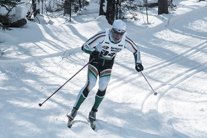 Anthony Viola/NW Graduating senior George Cartwright completed his final season at NMU. He finished fourth in the home CCSA Championship classic Saturday, Feb. 8, in Ishpeming behind third-place Schwencke and second-place Bratrud.
