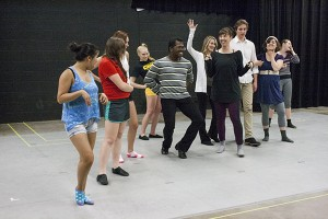 """From left to right, sophomore theater majors Donavon Chambers and Laura Thompson and choreographer Jill Grundstrom rehearse for """"Pippin,"""" which runs 7:30 p.m. Wednesday, July 9 through Sunday, July 13 and Wednesday, July 16 through Sunday, July 20 at Frazier Boat House. (Anthony Viola/NW)"""