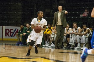 The men's basketball team finished the 2013-14 campaign with a 5-21 overall record in head coach Bill Sall's first year at Northern Michigan University. Junior forward Justin Newell led the team in scoring with 324 points. (NW file photo)