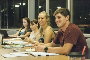 ASNMU met twice since the new school year began, talking about topics such as homecoming. In the most recent meeting, four new members were sworn in: Briana Wright, Anne Marie Wellman, Sara Spragg and Teala Howell. (Anthony Viola/NW)
