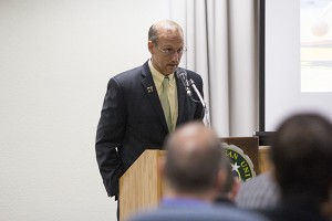 Athletic Director Forrest Karr spoke to the NMU Board of Trustees on Friday. (Kelly McCommons NW)