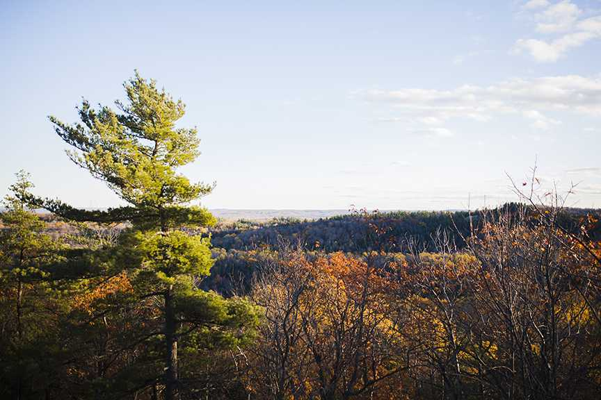 View from Mount Mesnard overlooking the Marquette Mountain ski area.